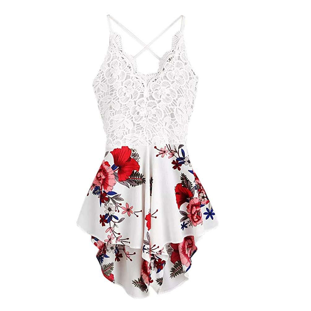 Women Rompers, Sexy Backless Lace Floral Print Jumpsuits Shorts Casual Beach Party Playsuits for Teen Girls