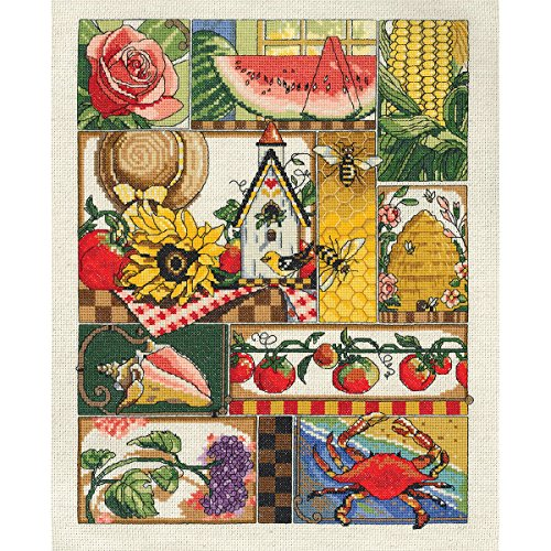 Janlynn 14 Count Summer Montage Cross Stitch Kit, 11 by 14-Inch