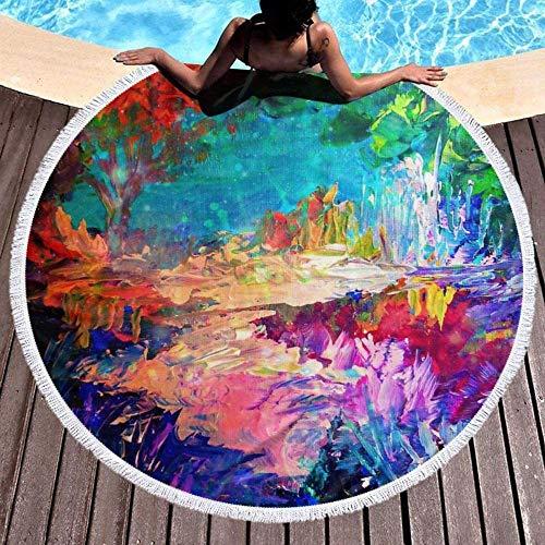 Große runde Strandmatte,Willkommen bei Utopia Rainbow Abstrakte Malerei Wald Natur Wunderliche Fantasie Kunst,geeignet für Picknicks im Freien,Strandmatten,Schwimmbäder,Yogamatten und Bodenmat