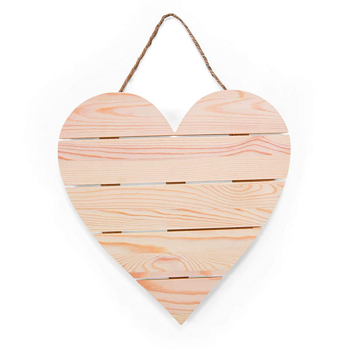 DIY Wood Heart Plank Sign with Jute Cord for Hanging-Kids Crafts-Summer Activities-Home Decor (1 sign)- 12 Inches