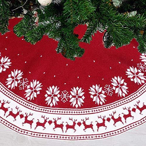 Falda para árbol de Navidad blanco rojo base copo nieve ciervos de...
