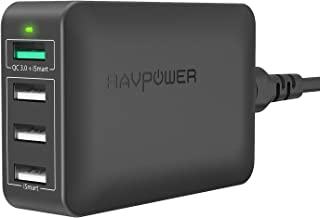 USB Fast Charger RAVPower 40W 4-Port QC 3.0 Fast Charger Desktop Charging Station Compatible Galaxy S9 S8 S7 Note 8, Compatible iPhone Xs XS Max XR X 8 7 Plus, iPad, Pixel, Tablet and More (Black)