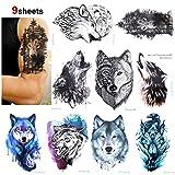 Konsait 9 hojas Lobo Tatuajes temporales para adultos hombre Mujer, falso Tatuajes Adhesivos...