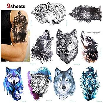 Konsait 9 Sheet Wolf Temporary Tattoo Sticker for Adult Women Men Fashion Body Art Waterproof Temporary Tattoo Fake Tattoo Arm Hand Back 21X15cm