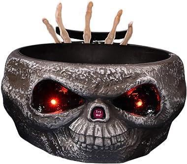 Amosfun Pot de Bonbons Halloween Sound Light crâne Candy Bowl Planter Titulaire (Gris)
