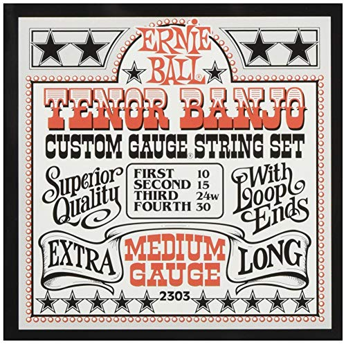Ernie Ball Medium Loop End Edelstahl Tenor Banjo Gitarrensaiten - 10-30 Gauge