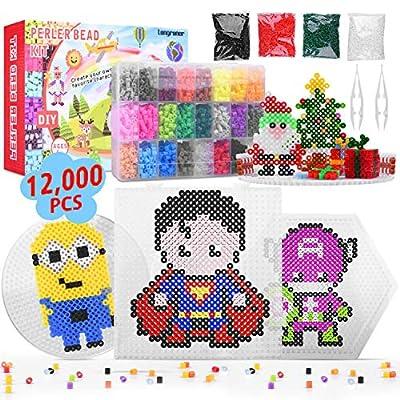 Longruner 12000 24 Colors Fuse Beads Kit 5mm DIY Art Craft Kids with 3 Pegboards