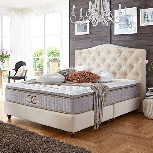 Boxspringbett Jersey altweiß Velour Hotelbett Doppelbett Taschenfederkern-Matratze 180x200cm Topper Luxusbett (180 x 200 cm)
