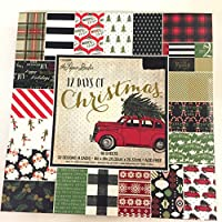 12 Days of Christmas 8 x 8インチ ペーパーパッド、ビンテージ、格子柄、キャンディケーン、そり、雪、古い赤い車
