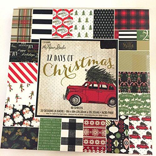 12Days of Christmas 20,3x 20,3cm Papier Pad, Vintage, Plaid, Zuckerstange, Schlitten, Schnee, Old rot Cars