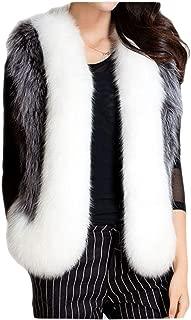 Dawwoti Women's Faux Fur Long Parka Outwear Oversized Vest Sleeveless Luxury Hoodie Peacoat for Christmas Party