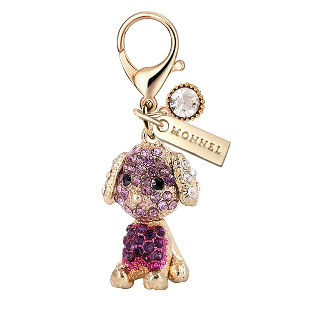 MC131 New Cute Purple Crystal Dog Puppy Lobster Charm Pendant with Pouch Bag (1 Piece)