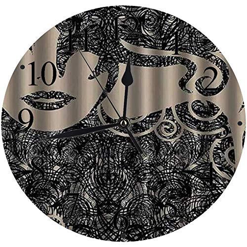 LUHUN Reloj de Pared Moderno,Mujer Moderna con Cabello Caliente Sexy Ondulado posando en frío,Reloj de Cuarzo de Cuarzo Redondo No-Ticking para Sala de Estar 30 cm