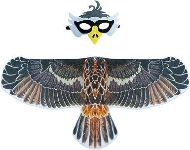 D.Q.Z 鸟服装 儿童翅膀 带鸟面具,鹰鹦鹉-翅膀角色扮演万圣节装扮服装 适合 3-9 岁