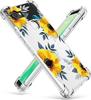 GVIEWIN Compatible for Google Pixel 2 XL Case, Flower Pattern Design with Shockproof Corner, Ultra Slim TPU Bumper Protective Cover Case(2017) (Sunflowers/Yellow)