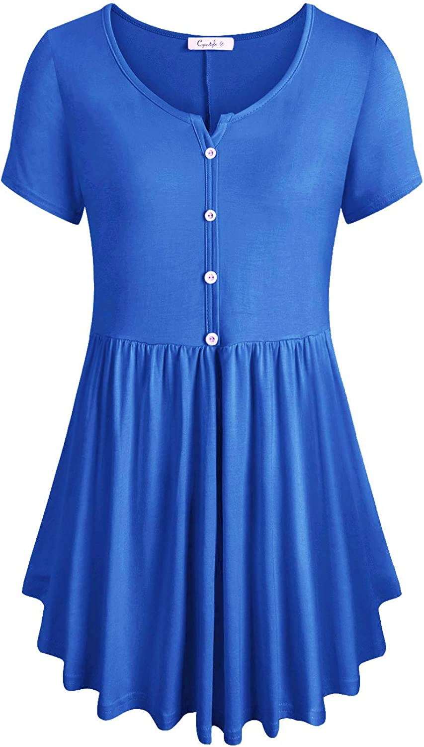 Cyanstyle Women's V Neck Short Sleeve Henley Pleated Casual Tunic Blouse Tops
