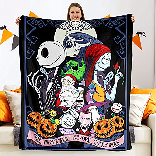 Nightmare Before Christmas Blanket Soft Christmas Throw Blanket Jack & Sally Throw Blankets for Couch Bed Living Room Sofa 60x80in
