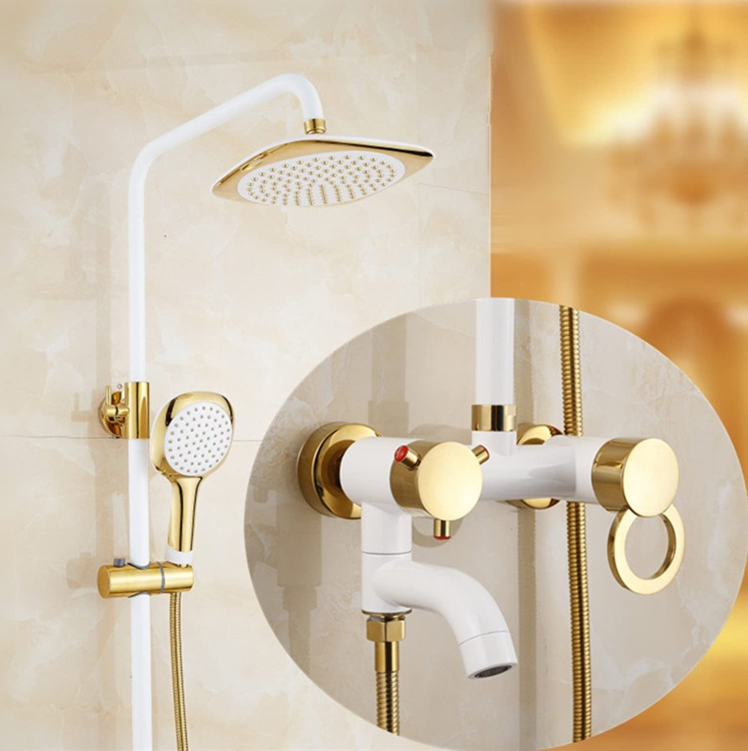 ZQ@QXgold over copper throughout the continental grilled white shower suite, sect. I)
