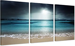 Hello Artwork - Modern Canvas Wall Art Blue Ocean Seascape With Sea Wave The Pictures Beach Landscape Print On Canvas Read...