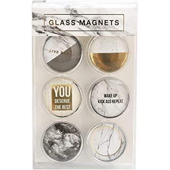 Amazon.com: White Marble Fridge Magnets Round Glass Magnets for