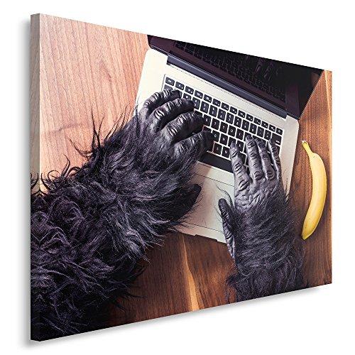 Feeby Frames, canvas, afbeeldingen, wandafbeelding - 1 deel - wandafbeeldingen, kunstdruk, AFFE, bananen, handen, computer, laptop, toetsenbord, bureau, zwart 30 x 40 cm.