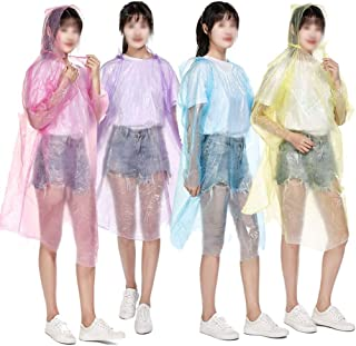 Disposable Ponchos (10 Pieces), Ponchos with Hooded and Sleeves, Emergency Waterproof Ponchos for Holiday Camping Parks -D...