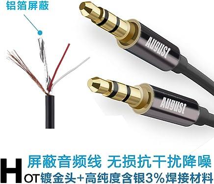 英国品牌 AUGUST 奥科斯 TAA210 3.5MM公对公AUX屏蔽音频线发烧级高保真降噪线音频连接线 立体声音频线 1米