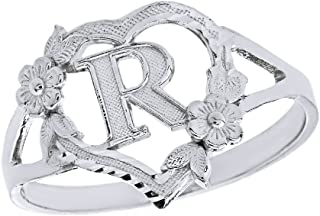 CaliRoseJewelry Silver Initial Alphabet Personalized Heart Ring - Letter R