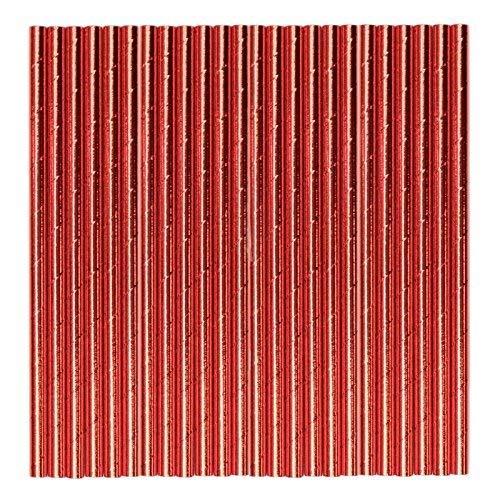 Rouge Métallisé Papier pailles – Lot DE 48