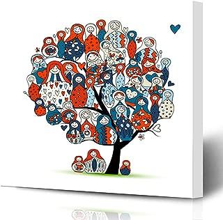 Ahawoso Canvas Prints Wall Art Printing 8x8 Babushka Collection Russian Female Nesting Dolls Scarf Matryoshkas Tree Apron Baby Character Craft Painting Artwork Home Living Room Office Bedroom Dorm