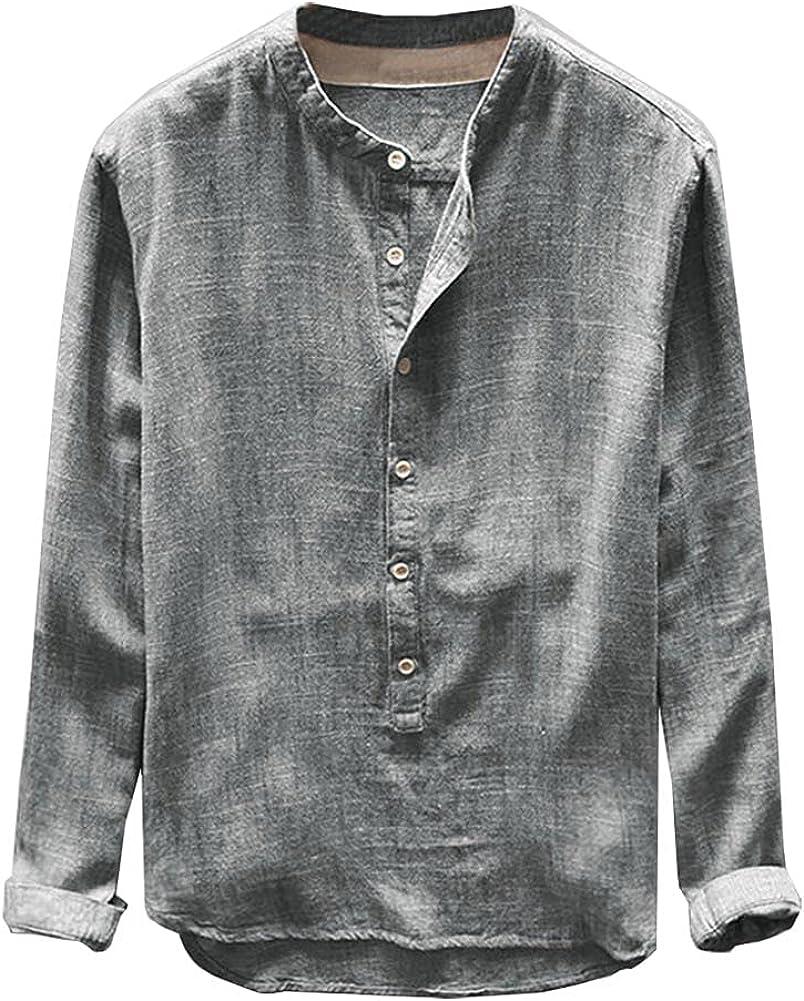 Men's Henley Shirt Baggy Linen Cotton Long Sleeve Blouse Casual Button Tops