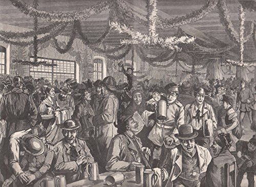 Bier - Im münchener Salvatorkeller auf dem Nockherberg. Schöne Ansicht mit zahlreichen Gästen. [Grafik]