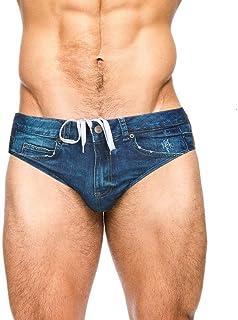 PJ PAUL JONES Men's Sexy Swim Briefs Bikini Denim Print Drawstring Waist Swim Trunks Swimwear Boardshorts