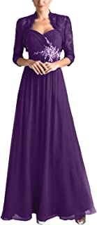tutu.vivi Women's Chiffon 2 Pieces Mother of The Bride Dresses with Lace Jacket Pleated Long Evening Gown