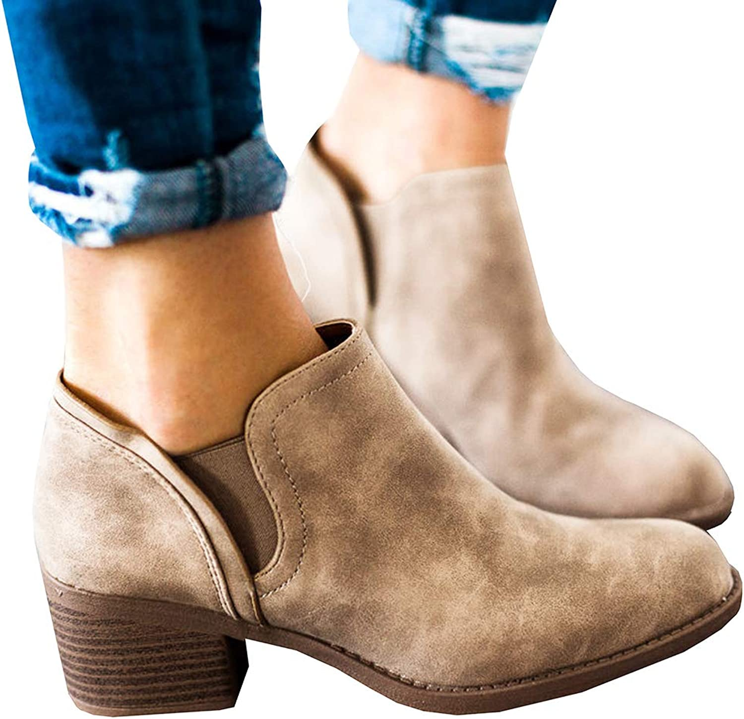 27f3d3c7a53 Ofenbuy Ankle Boots For Women Chelsea Booties Stacked Heels Pointy ...