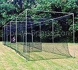 Jones Sports Batting Cage Net 10' H x 12' W x 30' L #42 HDPE (60PLY) with Door Heavy Duty Baseball