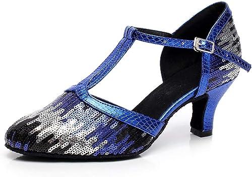 ZXYYUE Chaussons de danse latine pour femmes, T-sangles Sequins T-strap