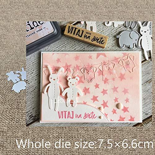 YQCZ Schneidform Handwerk Metall Stanzen Stanzungen 3 Stücke Bär Elefant Hase Tiere Sammelalbum Album Papier Karte Handwerk Präge Stanzungen