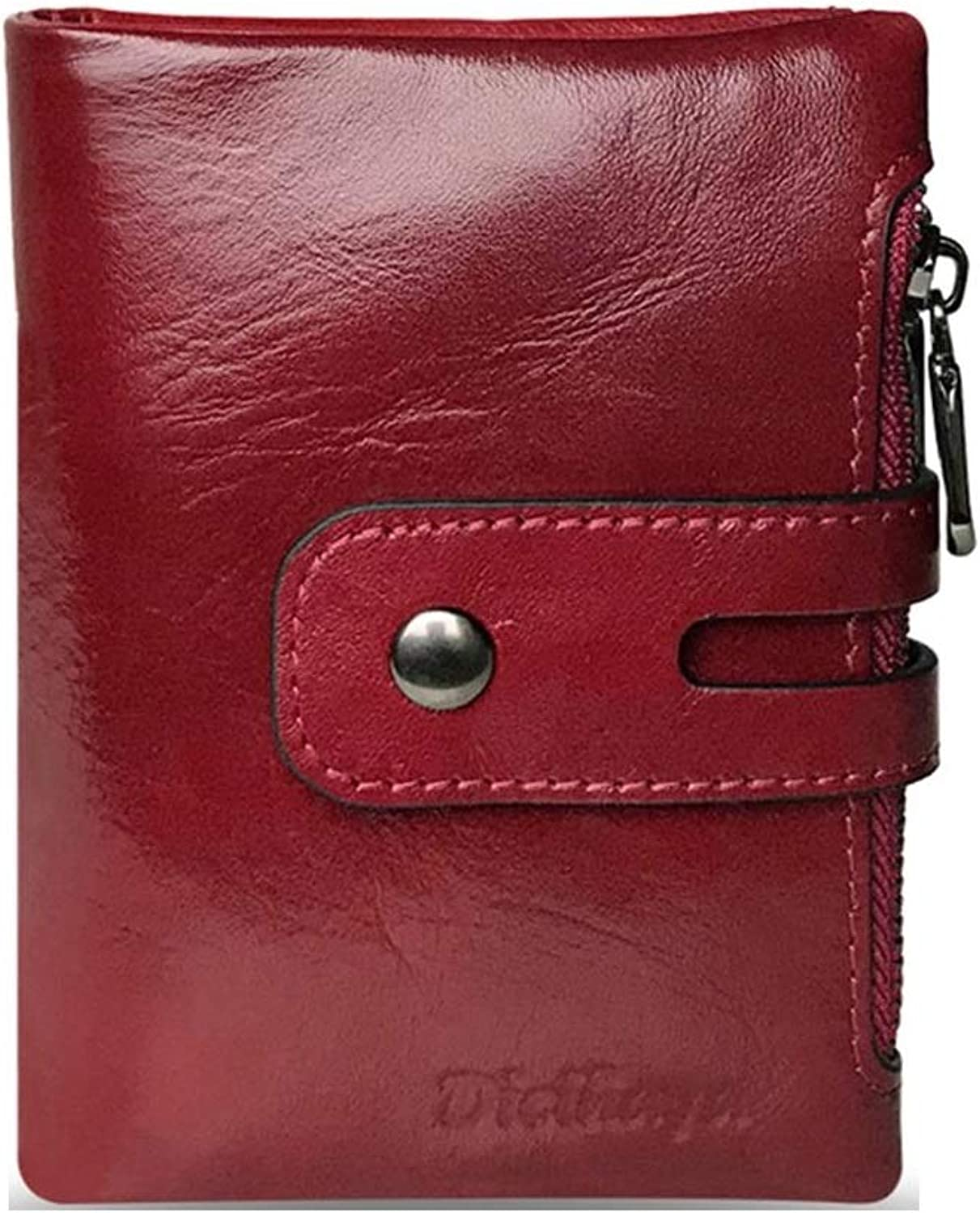 WeoHau Women Pu Short Wallet MultiFunction Large Capacity Double Zipper Card Package Wine Red