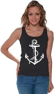 Awkwardstyles Women's Anchor White Tank Top Marine Sailor Navy Tank + Bookmark