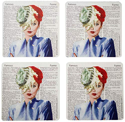 MADE IN USA Set of 4'Lucy Pie' Wooden Coasters With Original Artworks on Authentic Vintage Papers Up to 130 Years Old