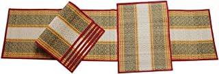 eStorehunt -Christmas Eco Friendly Red Table mat and Runner Set of 6 Heat Resistant Kitchen Table mats with Darbha Grass Straws & Threads