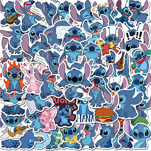 Lilo & Stitch Caroon Stickers 50pcs Waterproof Vinyl for Waterbottle Laptop Luggage Car Motorcycle Bicycle Fridge DIY Styling Vinyl Home (Lilo & Stitch)