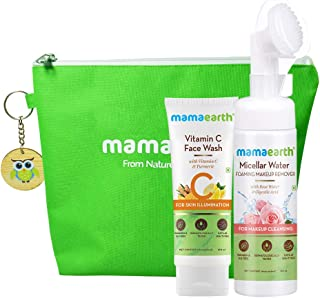 Mamaearth Vitamin C No Make Up Combo with FREE Bag(Vitamin C Face Wash 100ml + Micellar Water 150ml)