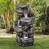 Chillscreamni Rockery Outdoor Springbrunnen - 102cm Wasserfall Gartenbrunnen, IN und Outdoor Zierbrunnen Wasserspiel Brunnen mit LED-Lichts&Beruhigender Klang für Garten, Gartenteich, Terrasse