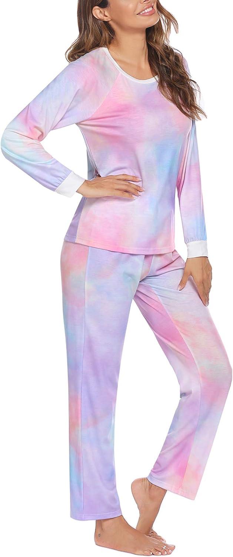 Ekouaer Women's Long Sleeve Pajama Set Soft Pj Lounge Sets Classic Nightwear Pants, S-XXL