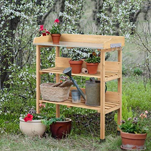 YAHEETECH Outdoor Garden Potting Bench W/Storage Shelf Wooden Workbench W/Hook Garden Work Station W/Metal Tabletop 3 Shelves Potting Table Natural Wood