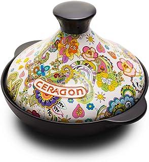 FCSFSF Sopa Caliente Pot para Guisar Lentamente Sopa,No-Palo Cerámica Casserole con Tapa,Calor-Resistente Earthen Pot,Clay Pot,Cocina Marroquí Tagine Olla De Cerámica A T2l