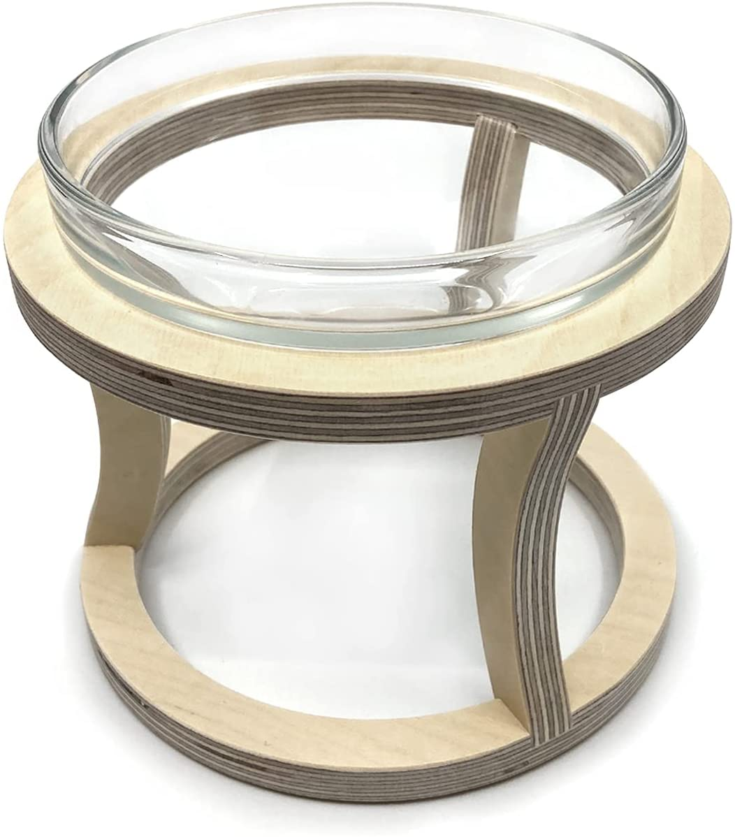 YEPPUPPY Single Raised Cat Water Bowl – Elevated Glass Water Bowl for Cats and Small Dogs – Deep and Wide Pet Bowl with Wooden Stand – Anti Vomit, Whisker friendly, Stress free Cat Bowl – Durable and Stable Design – Made in KOREA