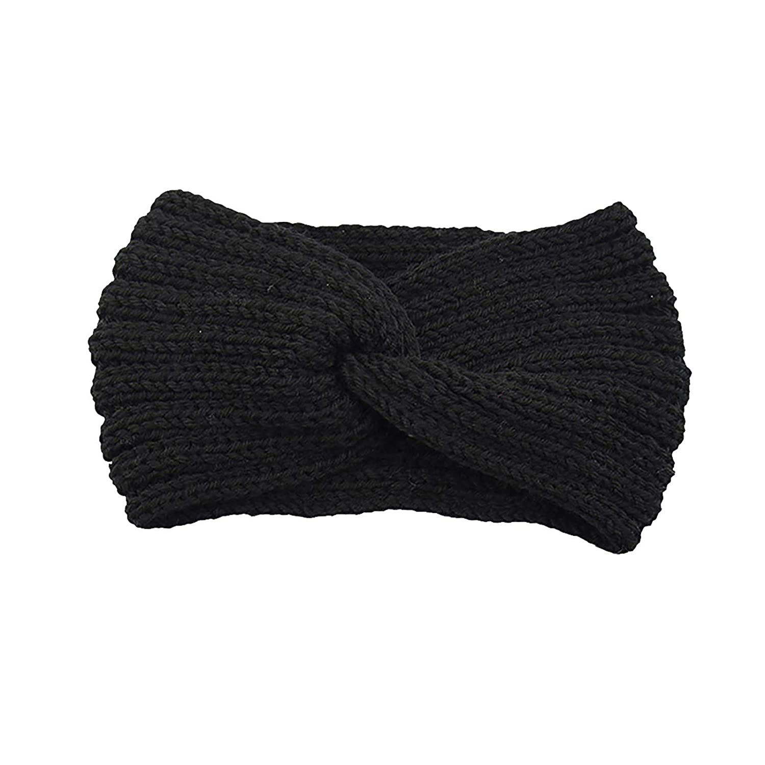 Thatso Winter Headbands for Women, Ear Warmer Headband with Buttons, Soft Stretchy Thick Cable Knitted Turban Hairband Gift (Black,One Size)